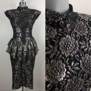 Vintage Black & Gold Lace Metallic Peplum Dress